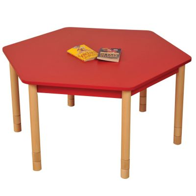 JS Height Adjustable Hexagon Coloured Classroom Table Red