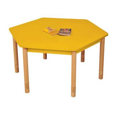 JS Height Adjustable Hexagon Coloured Classroom Table Yellow