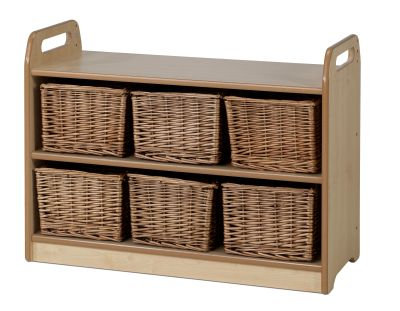 Tall Unit With Display & Mirror Back - Wicker Baskets