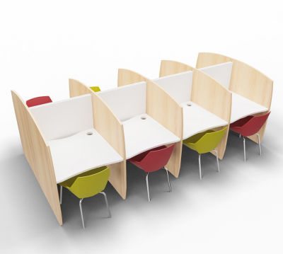 Madison Study Booth 8 Person Beech