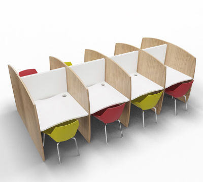 Madison Study Booth 8 Person Birch